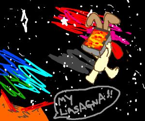 Odie runs away in space w/ Garfield's lasagna