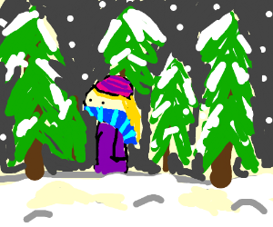 woman walking through snowy woods