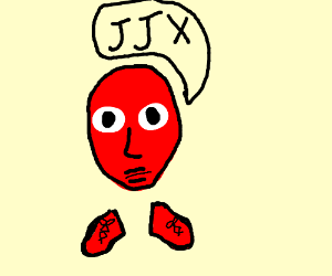 """Red head w/ red shoes says """"JJX"""""""