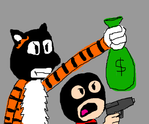 calvin and Hobbes rob a bank