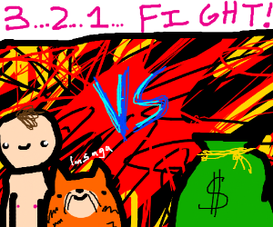 MAN AND TIGER VS MONEYBAG. 3 2 1 FIGHT