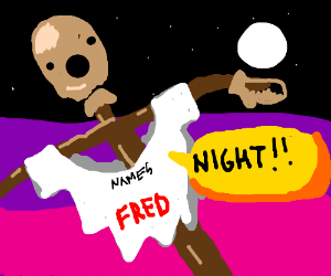 scarecrow named fred, yells night