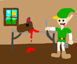 link eating a horse