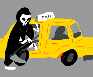 Death needs a taxi to the dead woman
