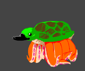 turtle with 6 tentacle legs + black duck bill