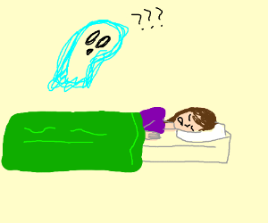 Ghost looking confused at girl sleeping