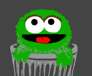 The Grouch in his trashcan being happy