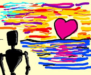 Robot watches pink heart sun