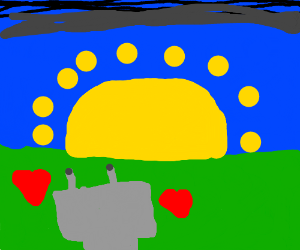 Cyborg in love watches the sunset alone