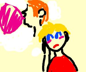 blonde lass has bubblegum fantasy
