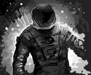 Spacesuited adventurer amid the vast galaxy.