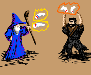 Mages battle using the mystic power of socks
