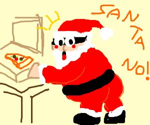 Santa stealing pizza