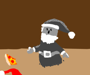 Ghost Santa after eating Pizza