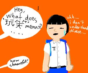 Asian student doesnt understand chinese (shamefull!)