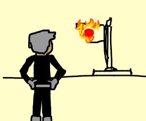 Danny phantom looks at burning Japan flag