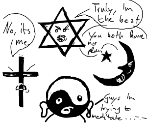 Religious symbols argue with each other.