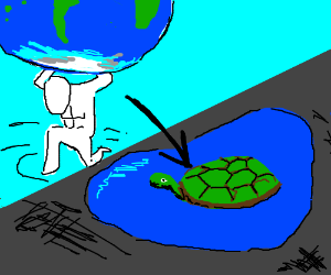 Atlas Is Now A Turtle Sitting In Puddle