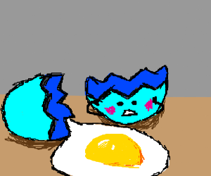 Blue egg shy that it spilled the yolk.