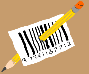 Pencil stuck in a bar code.