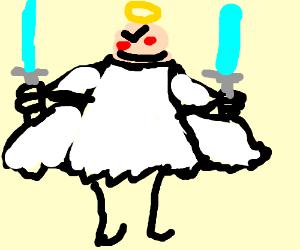 Angel holding swords