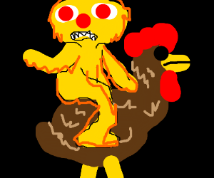 Yellmo riding a brown chicken