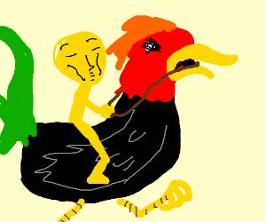Yellow man rides vulgar rooster