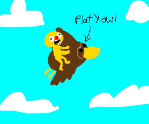 Yellmo riding Platyowl