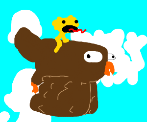 Yellmo rides Platyowl in the skies