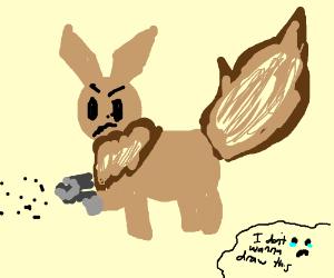 eevee has a machine gun