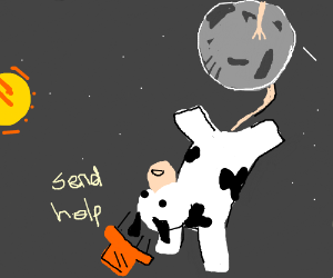 Cow with hat hanging from the moon needs help