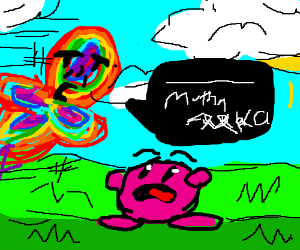 kirby under a rainbow suprised