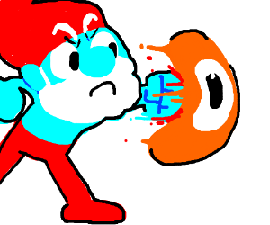 Papa Smurf fights a little orange guy
