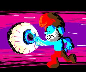 Papa Smurf punching an eyeball