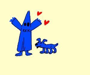 Blue KKK member likes blue doggo