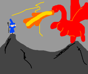 Wizzard vs Dragon on mountains