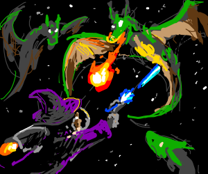 Space Wizards fighting dragons!