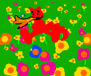 Dragon sitting in a field of flowers