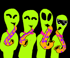4 aliens playing saxophones