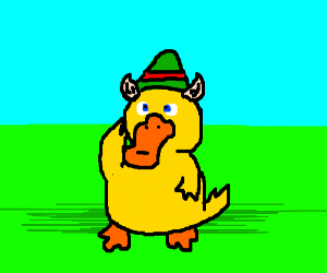 Psyduck as a Christmas Elf