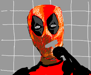 Deadpool shaving (still wearing his mask)