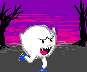 Mario ghost running joyfully