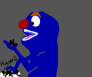 Giant blue muppet eats humans