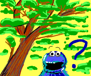 Confused Cookie Monster walks through forest
