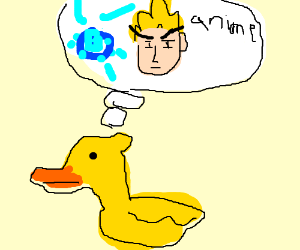 Yellow duck thinking about the best anime