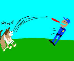 Cop with no arms plays with a collie