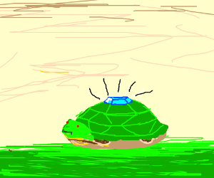 Turtle with gem embedded in designed shell
