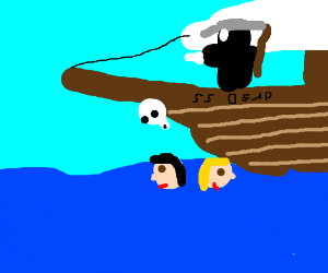 SS Dead, ship running over two floating heads