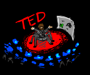 Legdad giving TED talk on a red stage