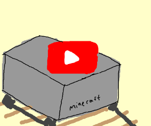 The YouTube logo in a mine cart